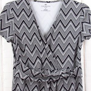 Talbots Black/White Wrap Front Chevon Dress SP